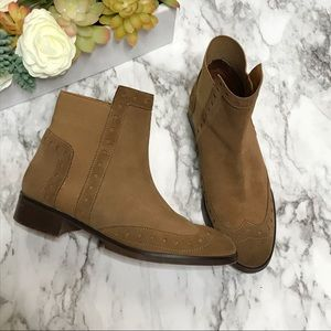 Zara Basic Tan Cut Out Ankle Boots